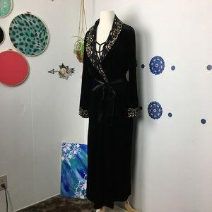 Thalia & Sodi Black velvet tie gold bathrobe L XL